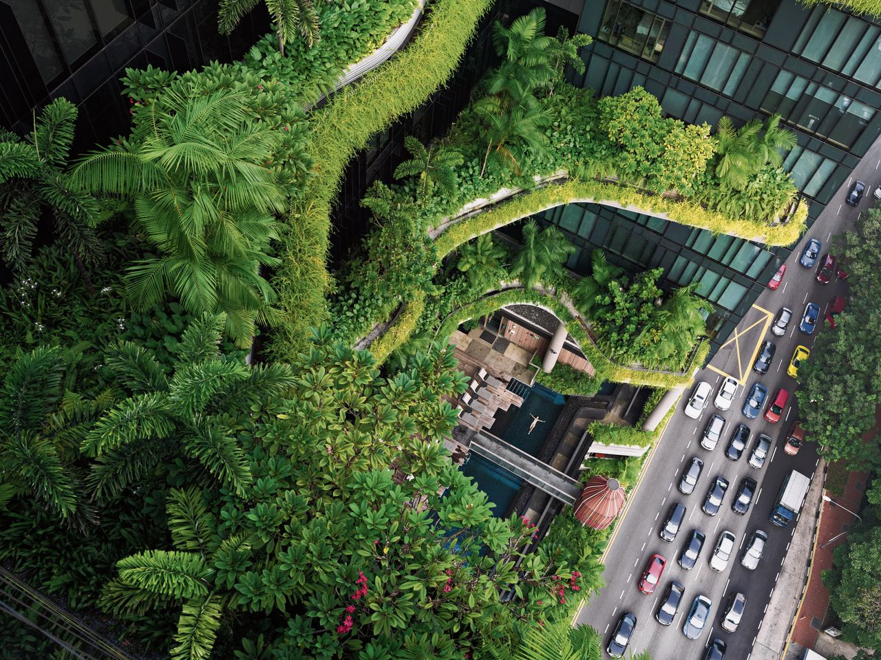 Lucas Foglia, Esme zwemmend, Parkroyal on Pickering, Singapore