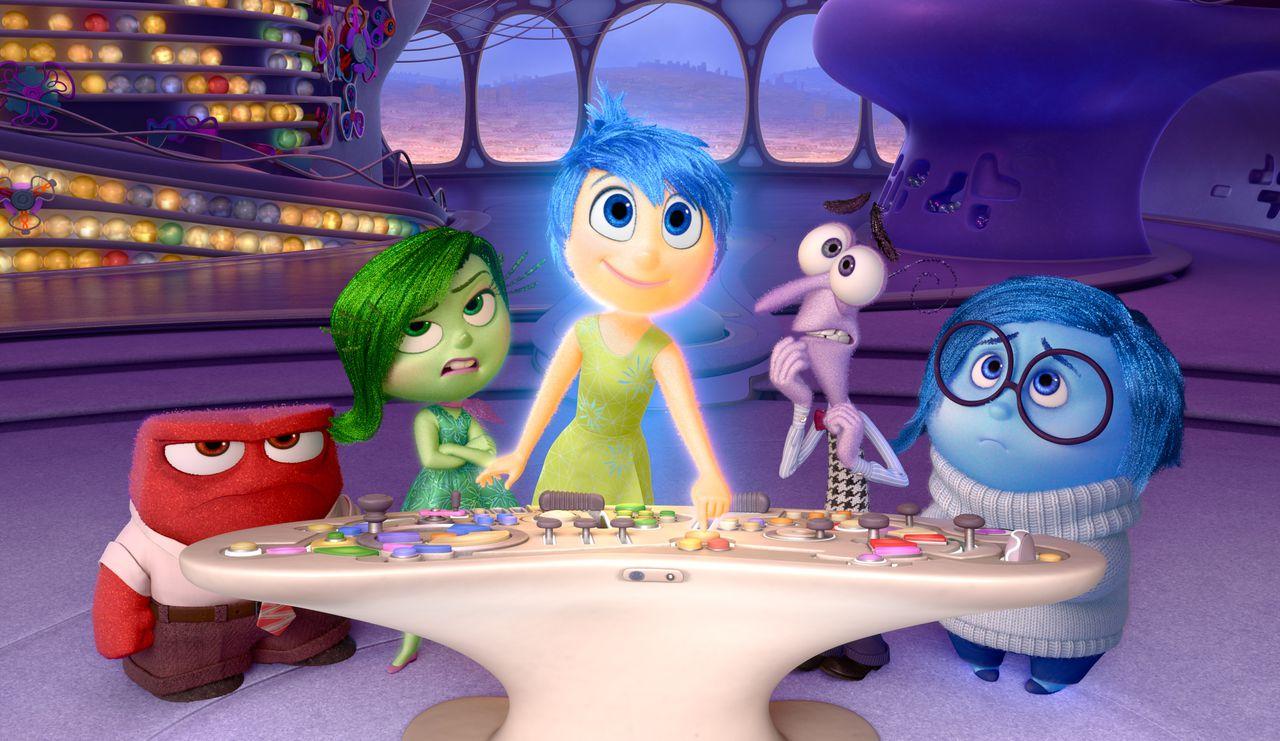 De hoofdpersonen van Inside Out: Woede, Afkeer, Plezier, Angst en Verdriet.