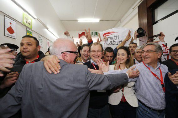 Labour Party delegates and candidates celebrate after winning in the general elections at the vote counting complex in Naxxar, outside Valletta, March 10, 2013. Malta's Labour Party won a national election, returning to power after 15 years in opposition. Labour's triumph is a personal victory for Labour leader Joseph Muscat, 39, who became party leader five years ago and has modernised his party to appeal to more centrist voters. REUTERS/Darrin Zammit Lupi (MALTA - Tags: POLITICS ELECTIONS) MALTA OUT. NO COMMERCIAL OR EDITORIAL SALES IN MALTA