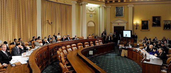 """Caption: Members of the U.S. Joint Select Committee on Deficit Reduction listen to testimony from Erskine Bowles and Alan Simpson , co-chairmen of the National Commission on Fiscal Responsibility and Reform, and Alice Rivlin and Pete Domenici, co-chairmen of the Bipartisan Policy Center's Debt Reduction Task Force, during a hearing on Capitol Hill in Washington, November 1, 2011. The bipartisan congressional committee formed to address the deficit issue and known in Washington as the """"super committee"""" needs to break an impasse between Republicans and Democrats to reach a deal by November 23 to reduce the U.S. budget deficit by at least $1.2 trillion. REUTERS/(UNITED STATES - Tags: POLITICS BUSINESS)"""