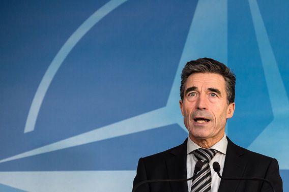 Anders Fogh Rasmussen, gisteren, bij een persconferentie van de NAVO in Brussel.