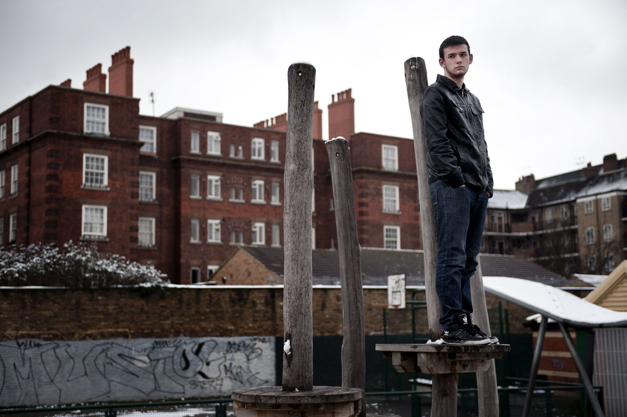 James Laws, 18, who is unemployed, in a park near the hostel where he lives in London, Feb. 10, 2012. The euro zone's economic downturn and its debt-driven austerity crusade has caused a soaring rate of youth unemployment. (Andrew Testa/The New York Times) *** Local Caption *** 14226297