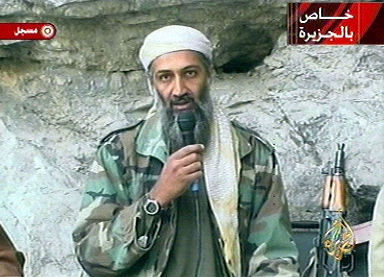 FILE - In this Oct. 7, 2011 file photo, Osama bin Laden is seen at an undisclosed location in this television image broadcast. A person familiar with developments said Sunday, May 1, 2011 that bin Laden is dead and the U.S. has the body. (AP Photo/Al Jazeera)