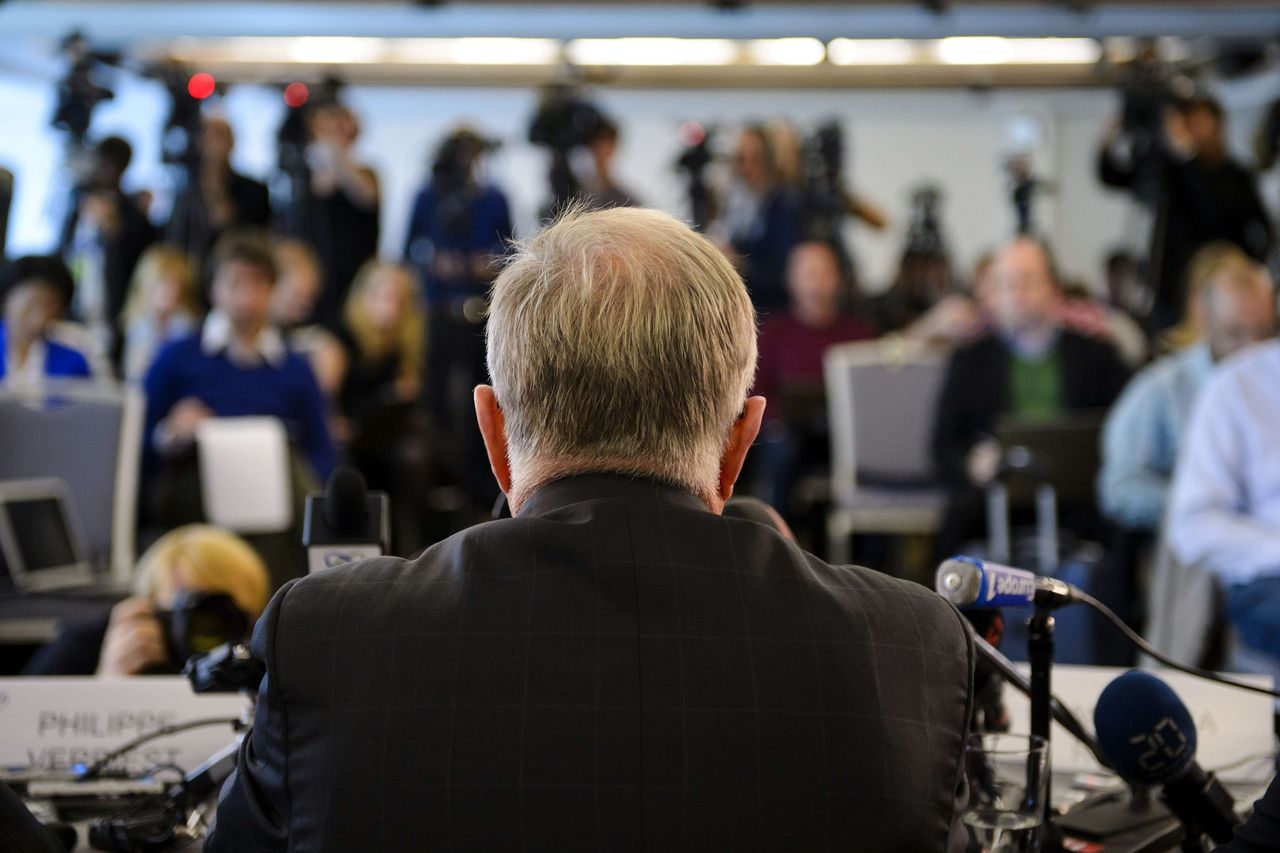"""International Cycling Union (UCI) President Pat McQuaid faces media during a press conference announcing the decision about the fate of US cyclist Lance Armstrong on October 22, 2012 in Geneva. Armstrong was banned on October 22 by the UCI as the world cycling body upheld an earlier doping sanction handed to the seven-times Tour de France champion. McQuaid said the UCI would strip Armstrong of all of his Tour de France titles, adding """"Lance Armstrong has no place in cycling."""" AFP PHOTO / FABRICE COFFRINI"""