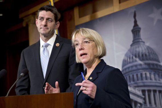 Republikein Paul Ryan en Democrate Patty Murray, de onderhandelaars over het begrotingsplan.