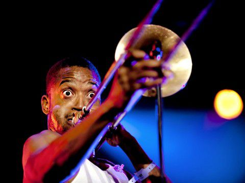 Trombone Shorty op North Sea Jazz 2011. Foto NRC / Andreas Terlaak