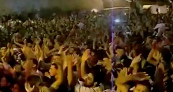 Protesters gather while chanting slogans in Maarat Al-Numan, near Aleppo, in this undated still image taken from amateur video, made available to Reuters on August 5, 2011. Syrian tanks and armoured vehicles deployed throughout Hama on Saturday, a resident said, after a week-long assault which one activist group said had killed 300 civilians in the symbolic centre of protest against President Bashar al-Assad. REUTERS/Social media website via Reuters TV (SYRIA - Tags: POLITICS CIVIL UNREST) FOR EDITORIAL USE ONLY. NOT FOR SALE FOR MARKETING OR ADVERTISING CAMPAIGNS. THIS IMAGE HAS BEEN SUPPLIED BY A THIRD PARTY. IT IS DISTRIBUTED, EXACTLY AS RECEIVED BY REUTERS, AS A SERVICE TO CLIENTS