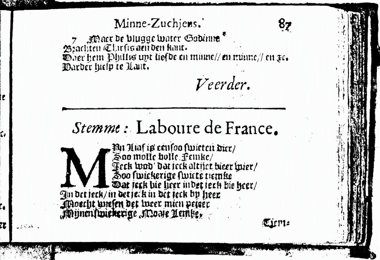 Fragment van het erotische liedje uit d'Amsteldamsche Minne-zuchjens uit 1643.