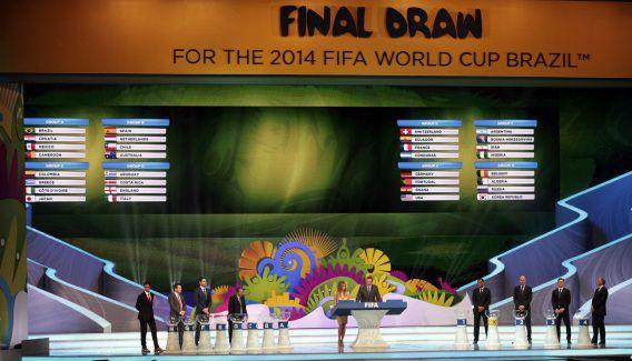 De definitieve groepsindeling voor het WK volgend jaar, afgelopen donderdag gepresenteerd in Brazilië.