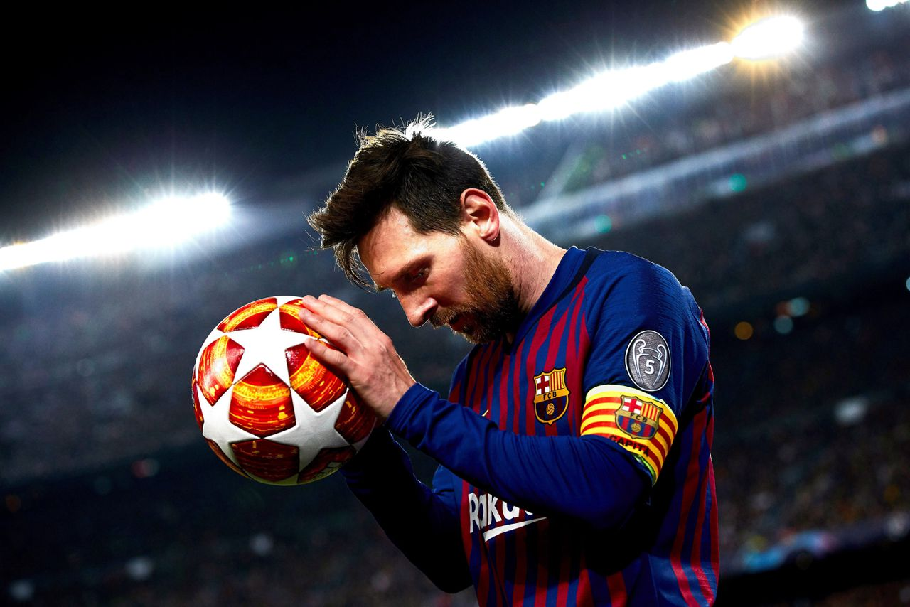 Lionel Messi in april vorig jaar in de Champions League.