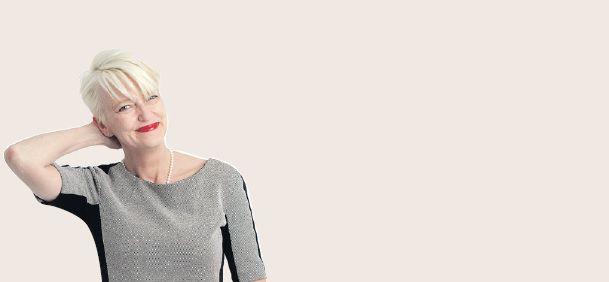 Elma Drayer zoals ze elke donderdag bij haar column op de opiniepagina's van Trouw stond.