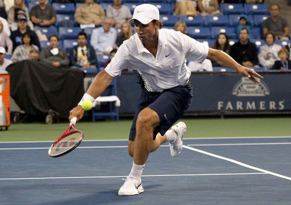 Igor Sijsling of the Netherlands returns the ball during a second round singles match against Sam Querrey of the United States at the Farmers Classic tennis tournament, Wednesday, July 25, 2012, in Los Angeles. (AP Photo/Grant Hindsley)