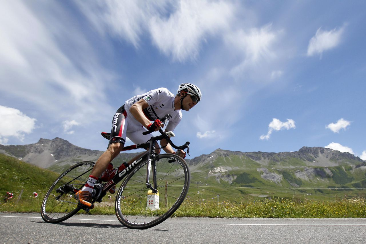 BMC Racing Team rider Tejay Van Garderen of the U.S. cycles in the Alps mountains during the 11th stage of the 99th Tour de France cycling race between Albertville and La Toussuire, July 12, 2012. REUTERS/Bogdan Cristel (FRANCE - Tags: SPORT CYCLING)