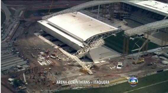De schade aan het stadion in Sao Paulo.