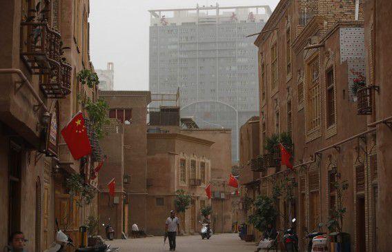 De stad Kashgar in de provincie Xinjiang.