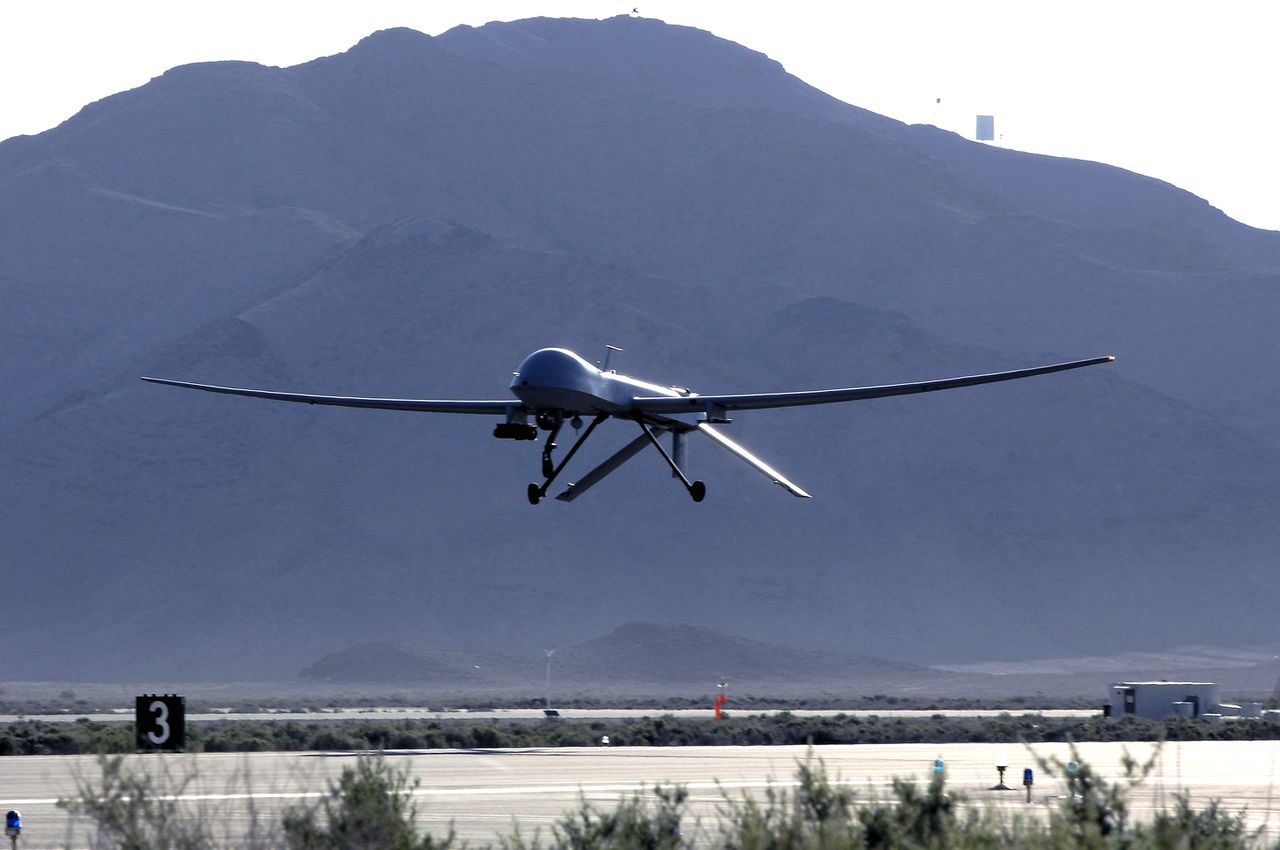 This undated handout photograph provided to the media on Tuesday, Feb. 2, 2010, shows an MQ-1 Predator. The MQ-1 Predotor provides armed reconnaissance, airborne surveillance and target acquisition for coalition forces in Iraq. Photographer: Staff Sgt. Brian Ferguson/U.S. Air Force photo via Bloomberg. EDITOR'S NOTE:EDITORIAL USE ONLY. NO SALES.