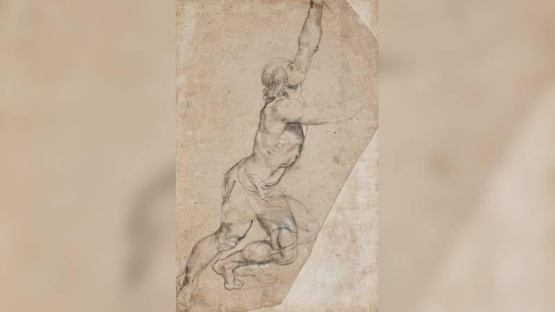 De geveilde tekening 'Naaktstudie van een jongeman met opgeheven armen' van Peter Paul Rubens uit de collectie van prinses Christina.