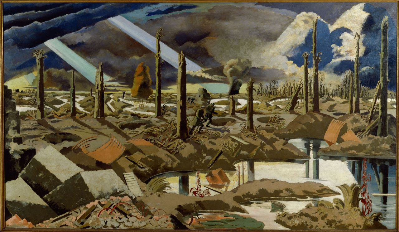 Het schilderij The Menin Road van Paul Nash (1889-1946) van de Meenseweg in Ieper. Nash maakte het schilderij in 1919. Het personage Paul Tarrant, uit Pat Barkers romans 'Life Class' en 'Toby's Room' is losjes op Paul Nash gebaseerd.