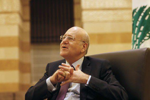 De Libanese premier Najib Mikati tijdens een interview in Beiroet eerder deze maand.
