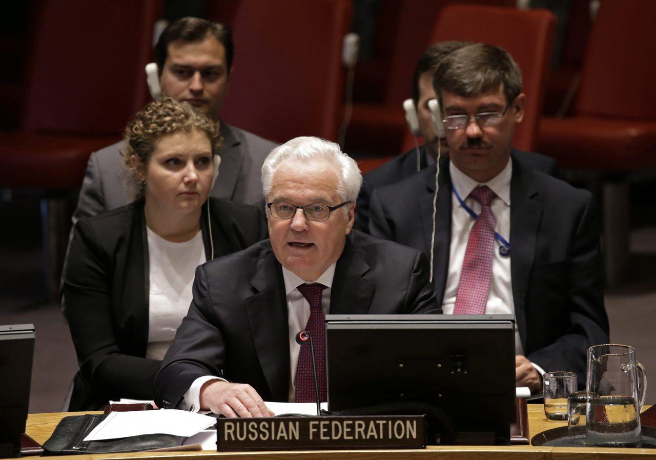 De Russische VN-ambassadeur Vitali Tsjoerkin, die vandaag zijn vetostem uitbracht.