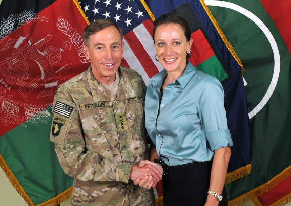 """This July 13, 2011 handout image provide by International Security Assistance Force NATO, shows them ISAF Commander Ge, David Petraeus shaking hands with his biographer Paula Broadwell in Afghanistan. The plot surrounding the resignation of CIA chief David Petraeus over an extramarital affair thickened November 11, 2012 with reports that his alleged lover had sent emails to a second woman seen as a threat to her love interest. The affair came to light as the FBI was investigating whether a computer used by Petraeus -- the celebrated ex-US commander in Iraq and Afghanistan -- had been compromised, the New York Times and other US media reported, citing government officials. NBC News and others have reported the Federal Bureau of Investigation was focusing on Paula Broadwell, co-author of a favorable biography of Petraeus, for possible improper access to classified information. Unnamed officials told the Times that Petraeus's lover was Broadwell, a former Army major who spent long periods interviewing Petraeus for her book. AFP PHOTO / HANDOUT / ISAF NATO = NO SALES = RESTRICTED TO EDITORIAL USE - MANDATORY CREDIT """" AFP PHOTO / ISAF """" - NO MARKETING NO ADVERTISING CAMPAIGNS - DISTRIBUTED AS A SERVICE TO CLIENTS ="""