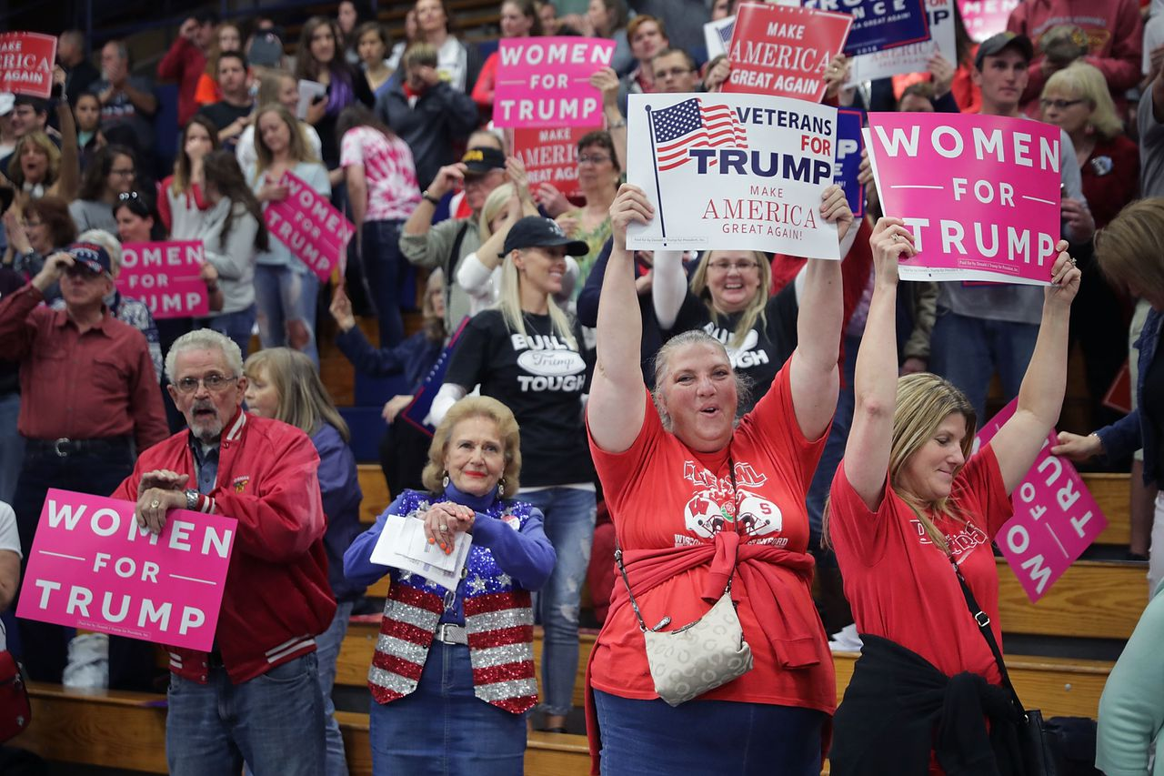 Donald Trump tijdens een rally in Eau Claire in Wisconsin op 1 november.