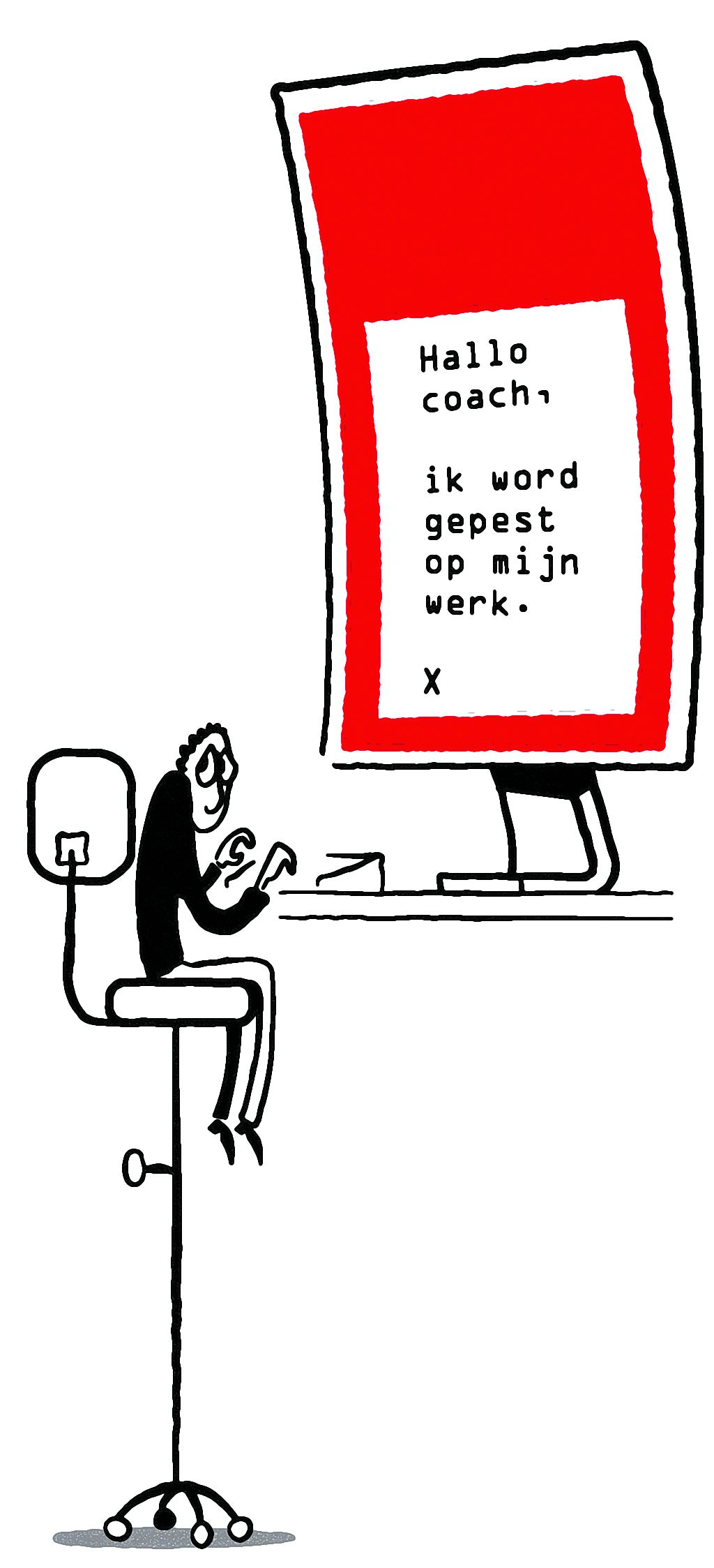 Lunch? Nee, we zijn al geweest Online coaching Illustraties Roel Venderbosch