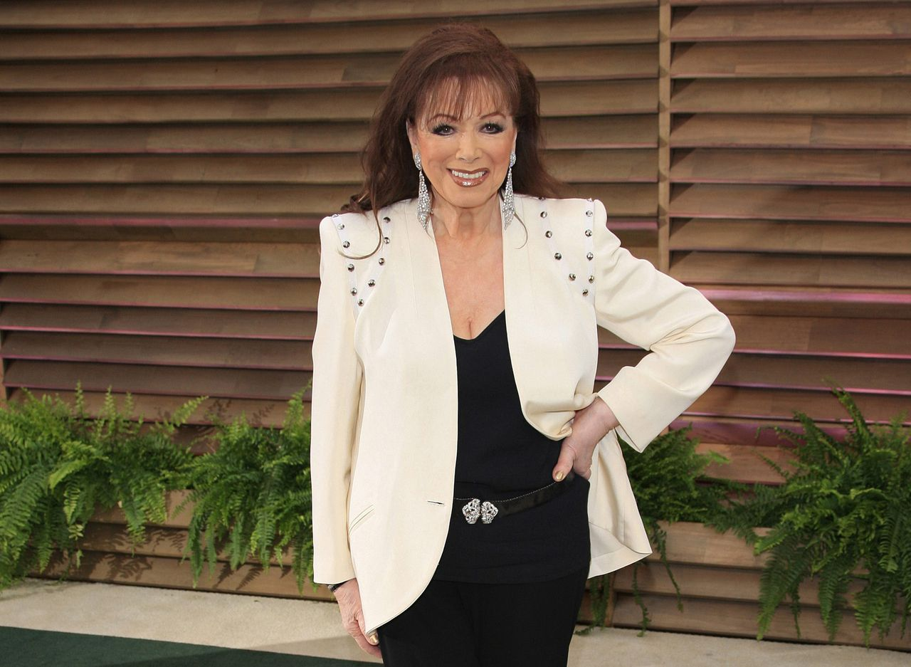 Jackie Collins na de Academy Awards in 2014, op een feestje van Vanity Fair in Hollywood.