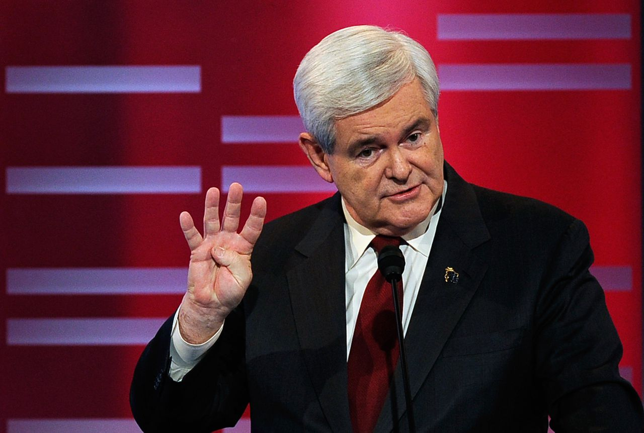 DES MOINES, IA - DECEMBER 10: Former speaker of the House Newt Gingrich, speak during the ABC News GOP Presidential debate on the campus of Drake University on December 10, 2011 in Des Moines, Iowa. Rivals were expected to target front runner Gingrich in the debate hosted by ABC News, Yahoo News, WOI-TV, The Des Moines Register and the Iowa GOP. Kevork Djansezian/Getty Images/AFP == FOR NEWSPAPERS, INTERNET, TELCOS & TELEVISION USE ONLY ==