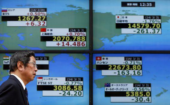 Een scherm met beursuitslagen in Tokio met daarop links bovenin de Russische index RTS die vanochtend hard onderuit ging.