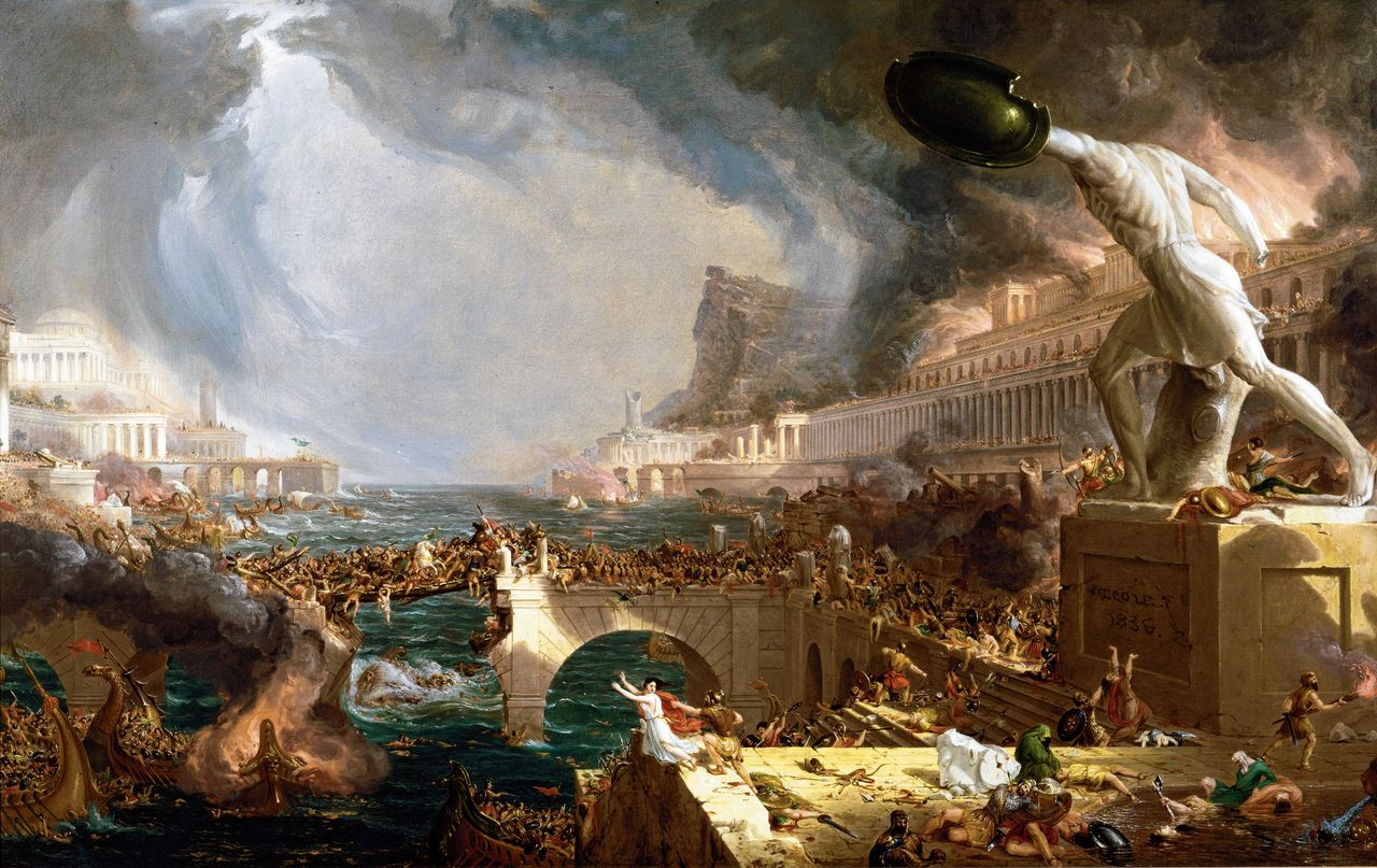 Destruction (1836) door Thomas Cole uit zijn schilderijenreeks The Course of Empire.