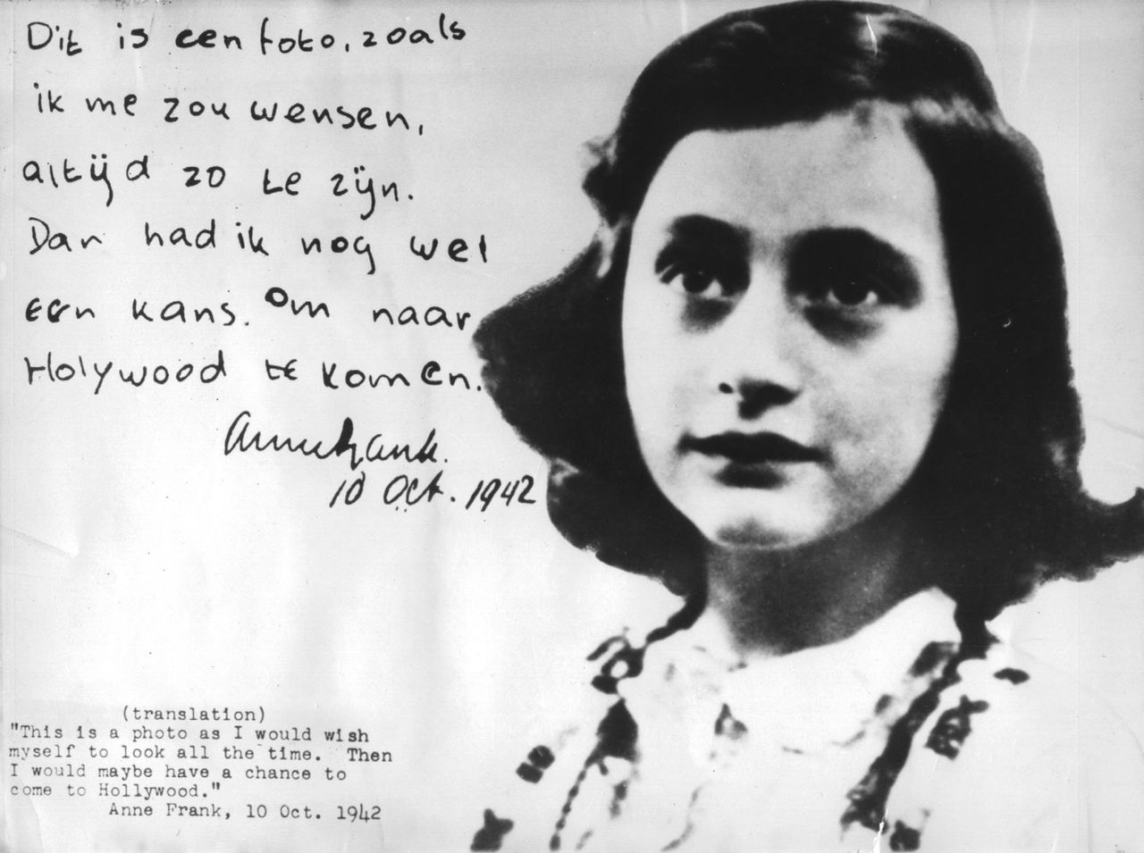 Anne Frank, the Jewish girl who wrote her world-famous journal while living in hiding in Amsterdam during World War II, is seen in this 1942 photo.