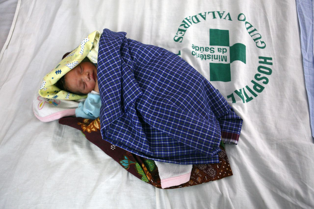 A newborn baby in Dili, East Timor on June 13, 2010.