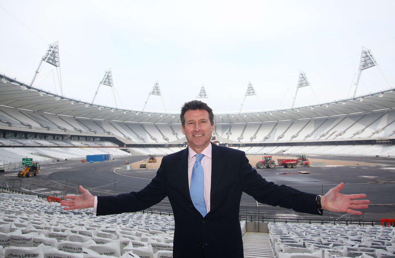 (FILES) This file picture taken on March 15, 2011 shows Sebastian Coe, London 2012 Chairman, posing for pictures at the Olympic Stadium in Stratford, east London. From the late burst of speed which won him the 1,500 metres gold medal at the 1980 Moscow Olympics to the devastating finish that saw him retain the title in Los Angeles four years later, Sebastian Coe has always been renowned for an impeccable sense of timing. Now the former golden boy of British athletics is preparing to kick for home in the task which has consumed him for every day of the last six years -- overseeing London's preparations for the 2012 Olympics. AFP PHOTO / GEOFF CADDICK
