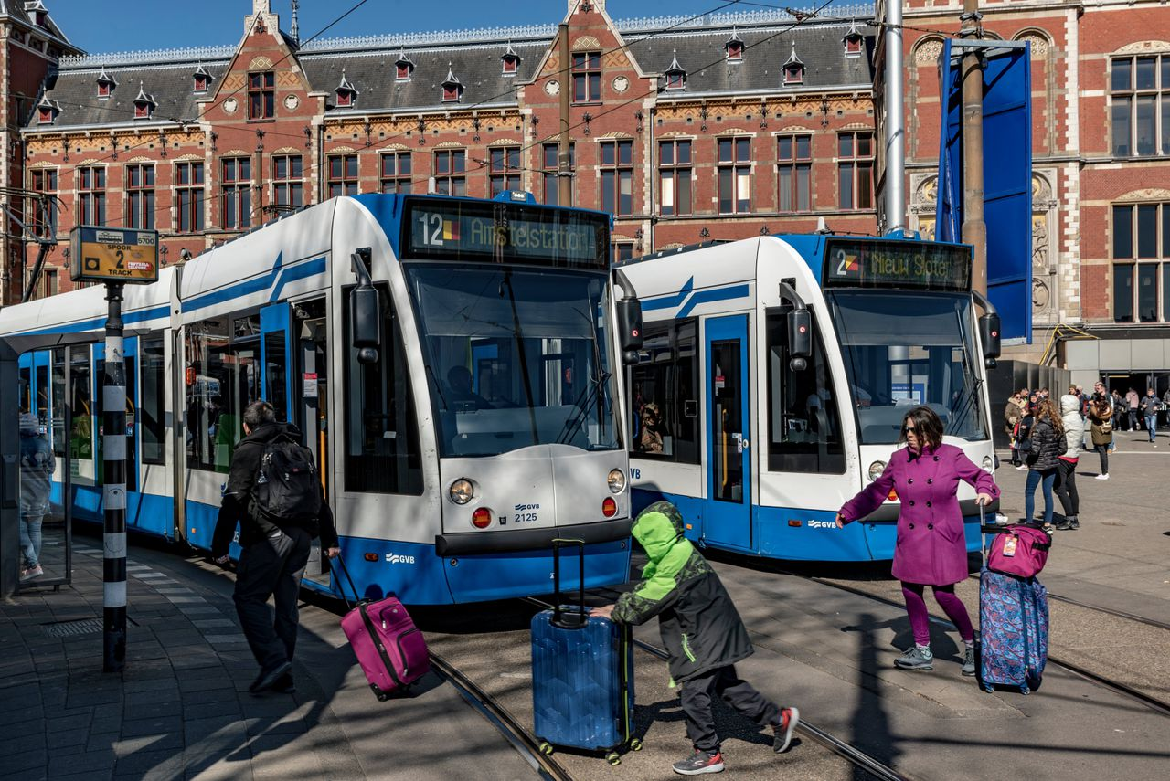 Trams in Amsterdam.