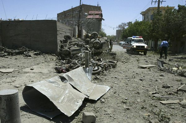 A general view shows the scene after suicide blasts near an Italian-run base in Herat May 30, 2011. At least two suicide bombers were involved in an attack near an Italian-run base in the main city in western Afghanistan on Monday, an Interior Ministry spokesman said. Interior Ministry spokesman Zemari Bashary said the suicide bombers launched their attack near the joint civilian/military Provincial Reconstruction Team (PRT) base in Herat but had no details on any casualties. REUTERS/Mohammad Shoib (AFGHANISTAN - Tags: CIVIL UNREST MILITARY POLITICS)