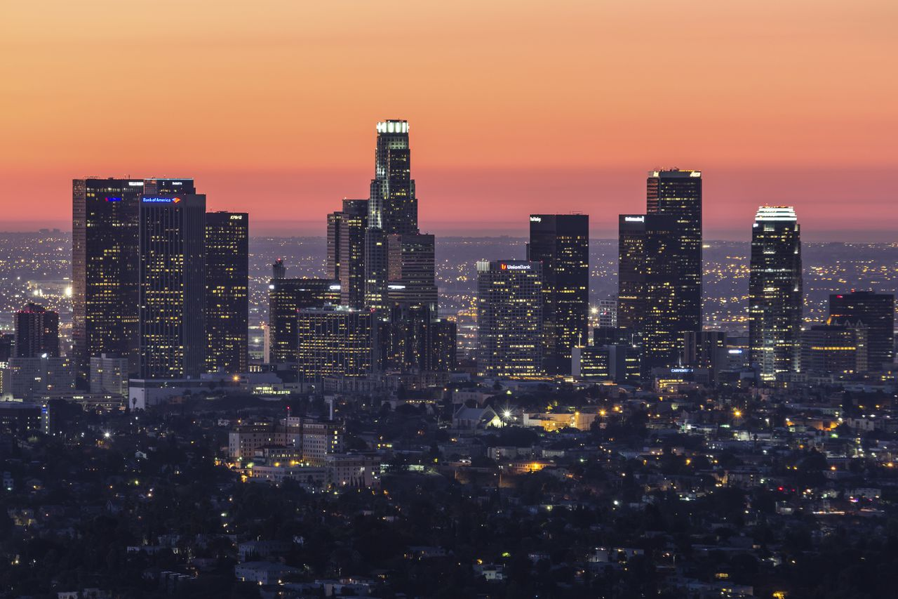 Pre dawn editorial view of downtown Los Angeles. California.