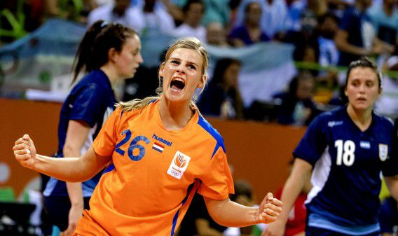 Angela Malestein tijdens de wedstrijd tegen Argentinie in de Future Arena op de Olympische Spelen van Rio.