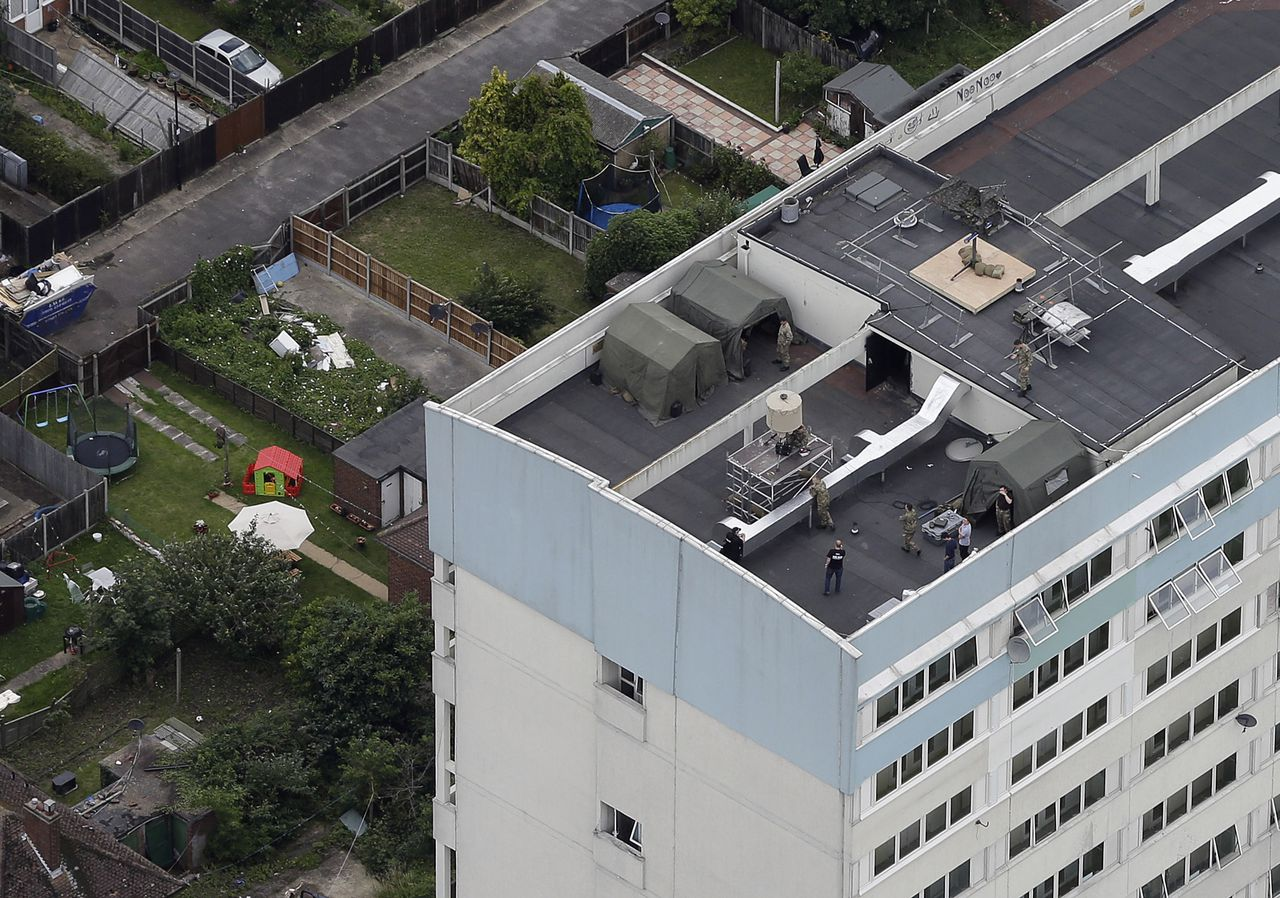 An aerial view of the Fred Wigg building in east London where the British military are installing a missile battery on top of it as part of the defenses for the London 2012 Olympic summer games Friday, July, 13, 2012. (AP Photo/Alastair Grant)