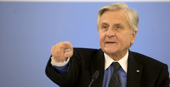 Caption: European Central Bank President Jean-Claude Trichet gestures during his final press conference of his eight-year term, after a policy-setting governing council's meeting on October 6, 2011 in Berlin. The ECB held its key interest rates steady, just hours before German Chancellor Angela Merkel was to host talks with other top officials on threats to the financial global system. AFP PHOTO / BARBARA SAX