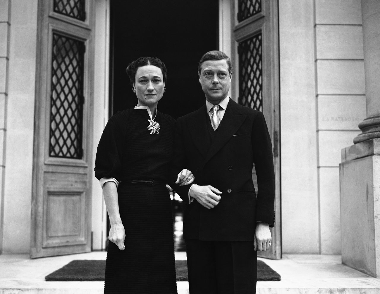 FILE - In this Jan. 2, 1939 file photo the Duke Windsor and Duchess of Windsor Wallis Simpson stand at the entrance of the Villa De La Croe in Cap Antibes, Cannes, where they celebrated the New Year. Watch out, Kate Middleton. Another royal consort is in the limelight as the royal wedding approaches. Wallis Simpson, the American divorcee who scandalized Britain and brought down a king in the 1930s, is back in style.(AP Photo, File)
