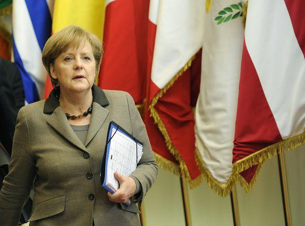 Bondskanselier Merkel zaterdag op de EU-top in Brussel.