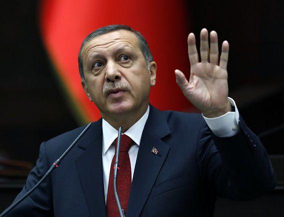 Recep Tayyip Erdogan in het parlement in Ankara.