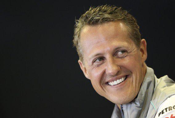Michael Schumacher op een persconferentie voorafgaand aan de GP van België in 2012.