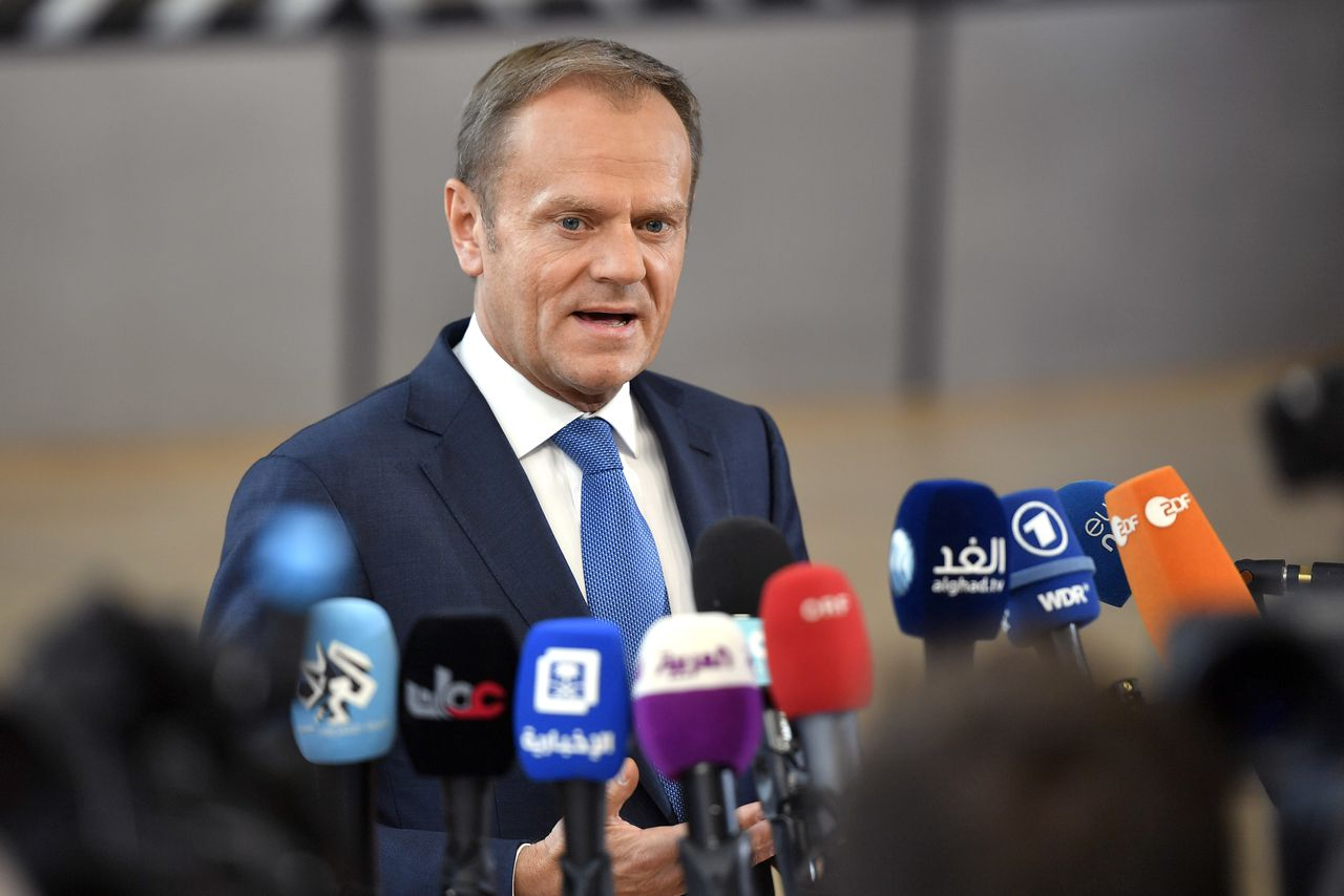 Donald Tusk op de EU-top in Brussel.