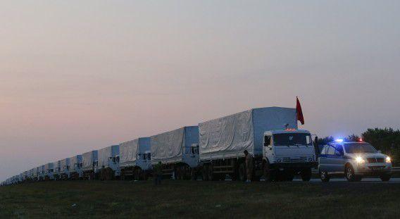Het Russische hulpkonvooi.