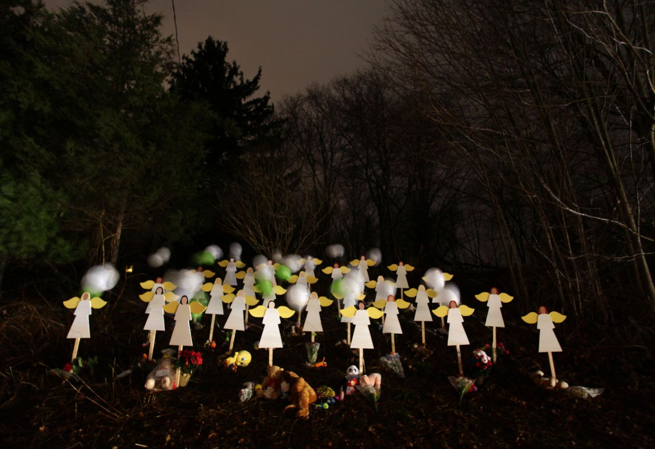 Twenty-seven wood painted angels are displayed outside of a home to honor the victims killed at Sandy Hook Elementary School in Newtown, Connecticut December 16, 2012. Twelve girls, eight boys and six adult women were killed in the shooting on Friday at Sandy Hook Elementary School in Newtown. REUTERS/Joshua Lott (UNITED STATES - Tags: CRIME LAW EDUCATION)