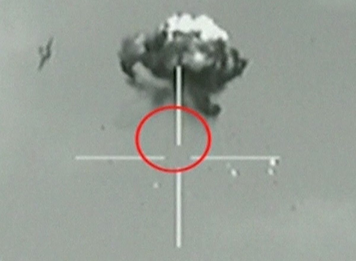 A still image taken from Israeli Defence Forces (IDF) video footage shows what they say is a small unidentified aircraft shot down in a mid-air interception after it crossed into southern Israel October 6, 2012. The Israeli air force shot down a drone after it crossed into southern Israel on Saturday, the military said, but it remained unclear where the aircraft had come from. REUTERS/IDF via Reuters TV (ISRAEL - Tags: TRANSPORT MILITARY TPX IMAGES OF THE DAY) FOR EDITORIAL USE ONLY. NOT FOR SALE FOR MARKETING OR ADVERTISING CAMPAIGNS