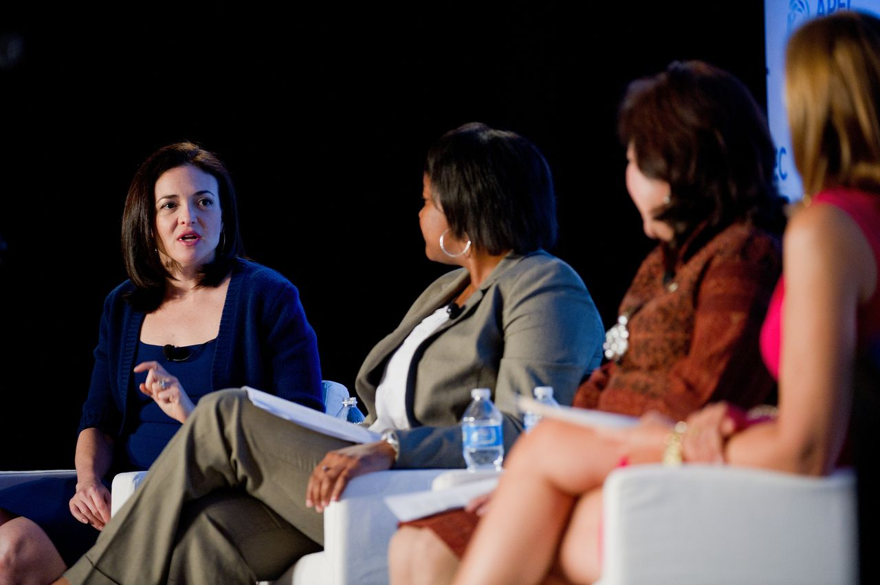 Sheryl Sandberg, chief operating officer of Facebook Inc., from left, speaks as Danielle Gray, deputy director of the National Economic Council, Mari Pangestu, Indonesia's trade minister, and moderator Chris Jansing listen during a panel discussion at the APEC Women and the Economy Summit in San Francisco, California, U.S., on Thursday, Sept. 15, 2011. The four-day conference, sponsored by the Asia-Pacific Economic Cooperation organization, draws some of the top women in business and government from the U.S. and Pacific Rim nations. Photographer: David Paul Morris/Bloomberg *** Local Caption *** Sheryl Sandberg