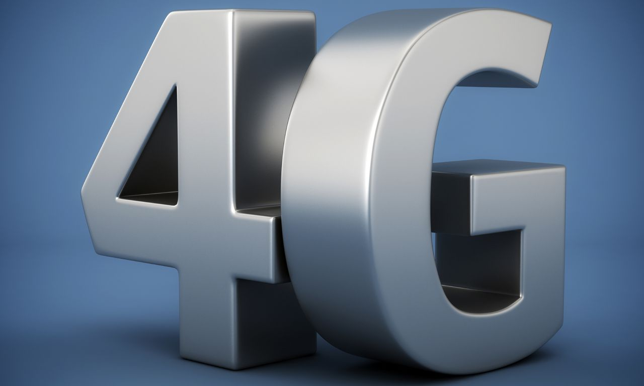 Big metal letters 4G on blue background